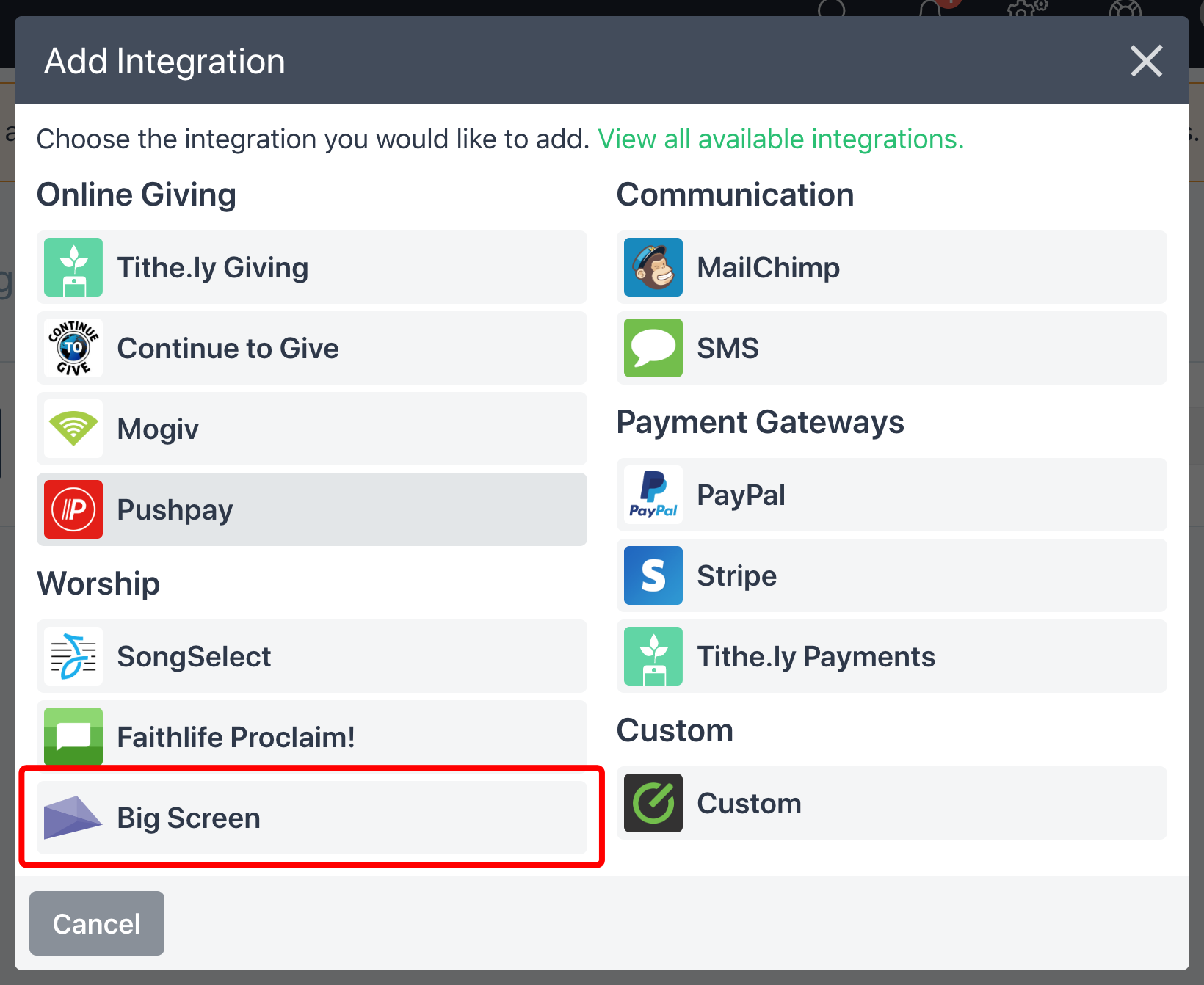 Tithe.ly ChHS/Elvanto Intergration Option List